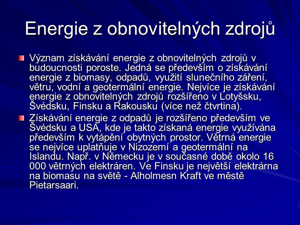 Energie z obnovitelných zdrojů Význam získávání energie z obnovitelných zdrojů v budoucnosti poroste.
