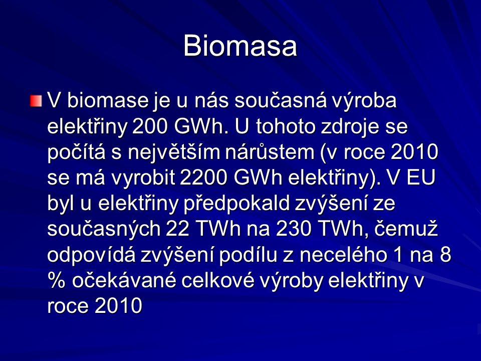 Biomasa V biomase je u nás současná výroba elektřiny 200 GWh. U tohoto zdroje se počítá s největším nárůstem (v roce 2010 se má vyrobit 2200 GWh elekt