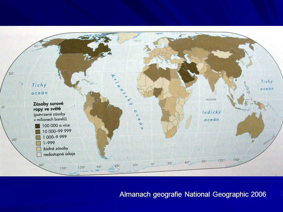 Zemní plyn Celkové zásoby zemního plynu jsou odhadovány na cca 400 bilionů m3.