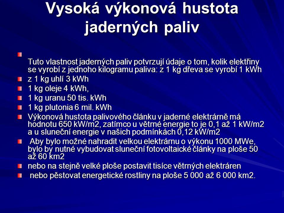 Vysoká výkonová hustota jaderných paliv Tuto vlastnost jaderných paliv potvrzují údaje o tom, kolik elektřiny se vyrobí z jednoho kilogramu paliva: z 1 kg dřeva se vyrobí 1 kWh z 1 kg uhlí 3 kWh 1 kg oleje 4 kWh, 1 kg uranu 50 tis.