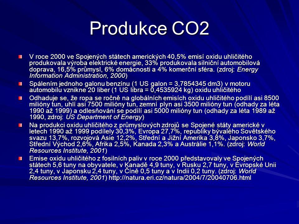 Produkce CO2 V roce 2000 ve Spojených státech amerických 40,5% emisí oxidu uhličitého produkovala výroba elektrické energie, 33% produkovala silniční automobilová doprava, 16,5% průmysl, 6% domácnosti a 4% komerční sféra.