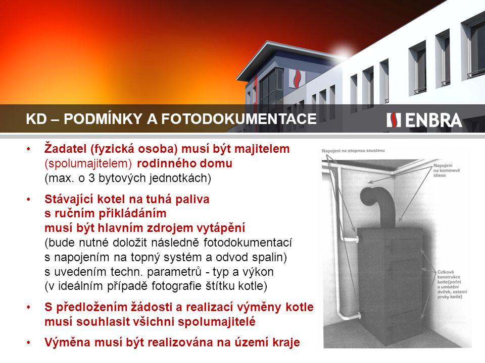 KD – PODMÍNKY A FOTODOKUMENTACE Žadatel (fyzická osoba) musí být majitelem (spolumajitelem) rodinného domu (max. o 3 bytových jednotkách) Stávající ko