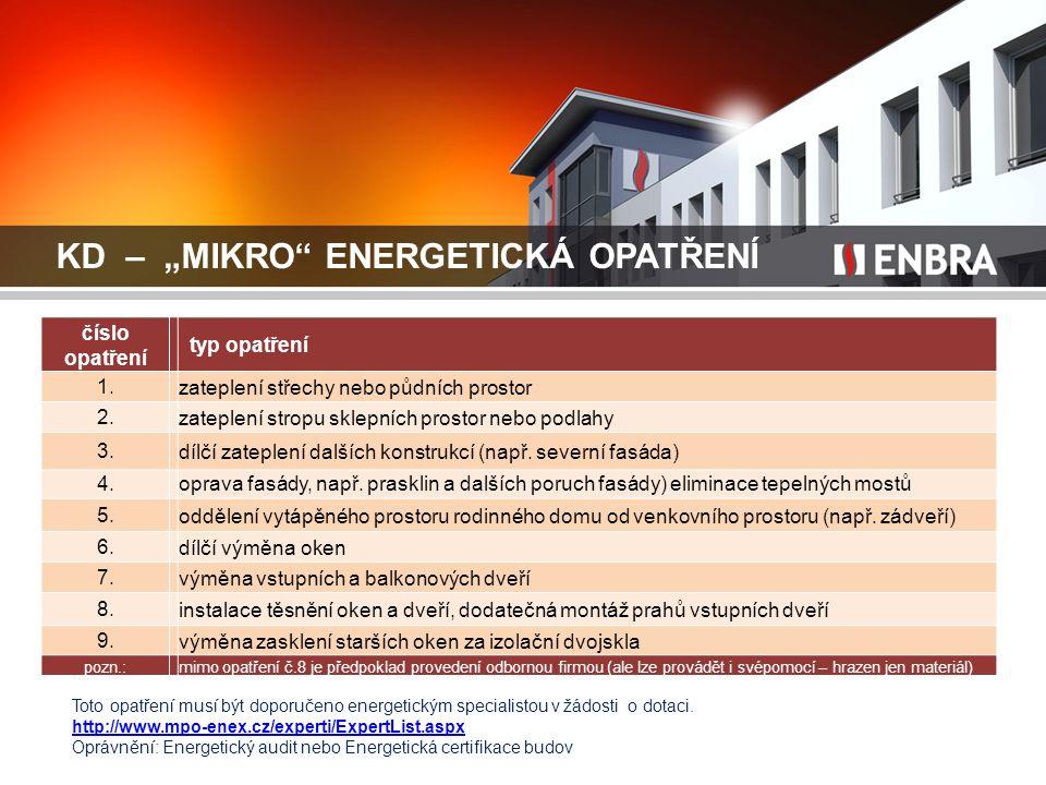 """KD – """"MIKRO"""" ENERGETICKÁ OPATŘENÍ číslo opatření typ opatření 1. zateplení střechy nebo půdních prostor 2. zateplení stropu sklepních prostor nebo pod"""