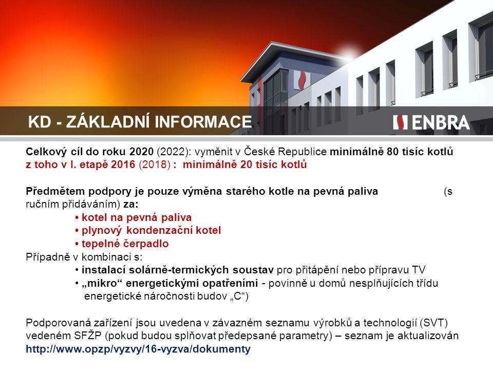 KD - ZÁKLADNÍ INFORMACE Celkový cíl do roku 2020 (2022): vyměnit v České Republice minimálně 80 tisíc kotlů z toho v I. etapě 2016 (2018) : minimálně
