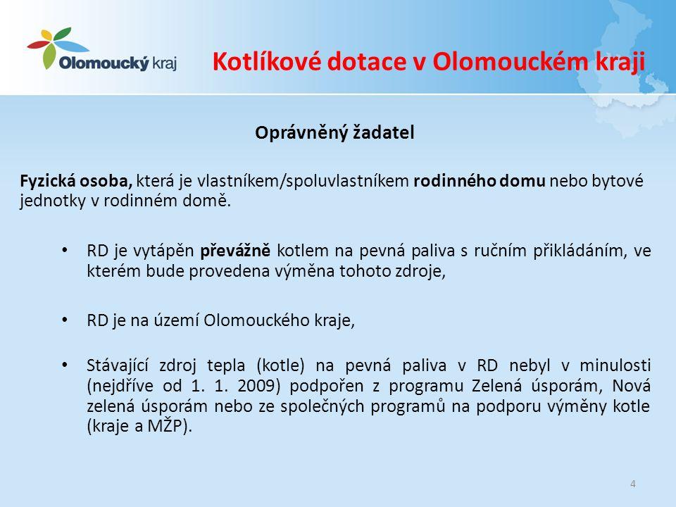 Kotlíkové dotace v Olomouckém kraji Předmět dotačního programu Podporu na výměnu zdroje tepla NELZE poskytnout: na výměnu zdroje tepla (kotle) spalujícího výhradně biomasu za kotel spalující uhlí, ani za kotel spalující uhlí a biomasu, na náhradu stávajícího zdroje tepla (kotle) s automatickým přikládáním paliva, na výměnu stávajícího plynového kotle, krbových kamen, kamen (vytápějících jednotlivé místnosti RD) apod.