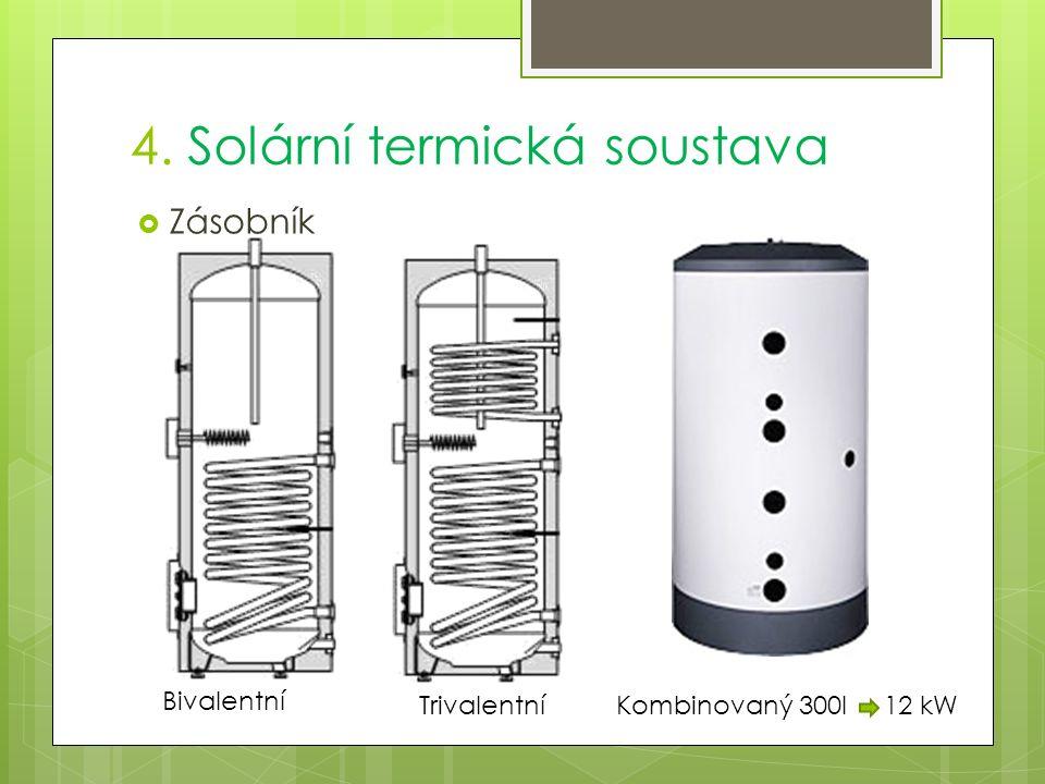 4. Solární termická soustava  Zásobník Bivalentní TrivalentníKombinovaný 300l 12 kW