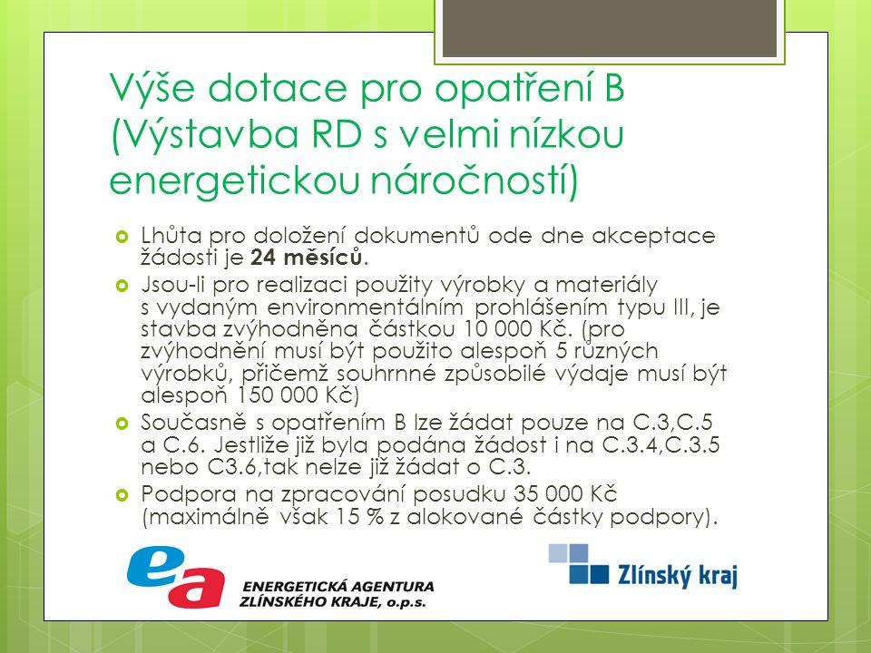 Výše dotace pro opatření B (Výstavba RD s velmi nízkou energetickou náročností)  Lhůta pro doložení dokumentů ode dne akceptace žádosti je 24 měsíců.