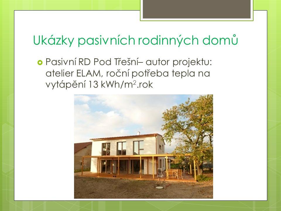 Ukázky pasivních rodinných domů  Pasivní RD Pod Třešní– autor projektu: atelier ELAM, roční potřeba tepla na vytápění 13 kWh/m 2.rok