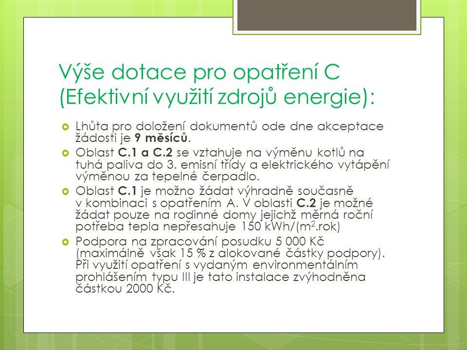 Výše dotace pro opatření C (Efektivní využití zdrojů energie):  Lhůta pro doložení dokumentů ode dne akceptace žádosti je 9 měsíců.