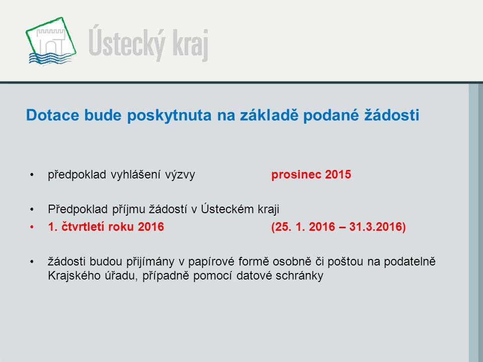 Dotace bude poskytnuta na základě podané žádosti předpoklad vyhlášení výzvyprosinec 2015 Předpoklad příjmu žádostí v Ústeckém kraji 1. čtvrtletí roku