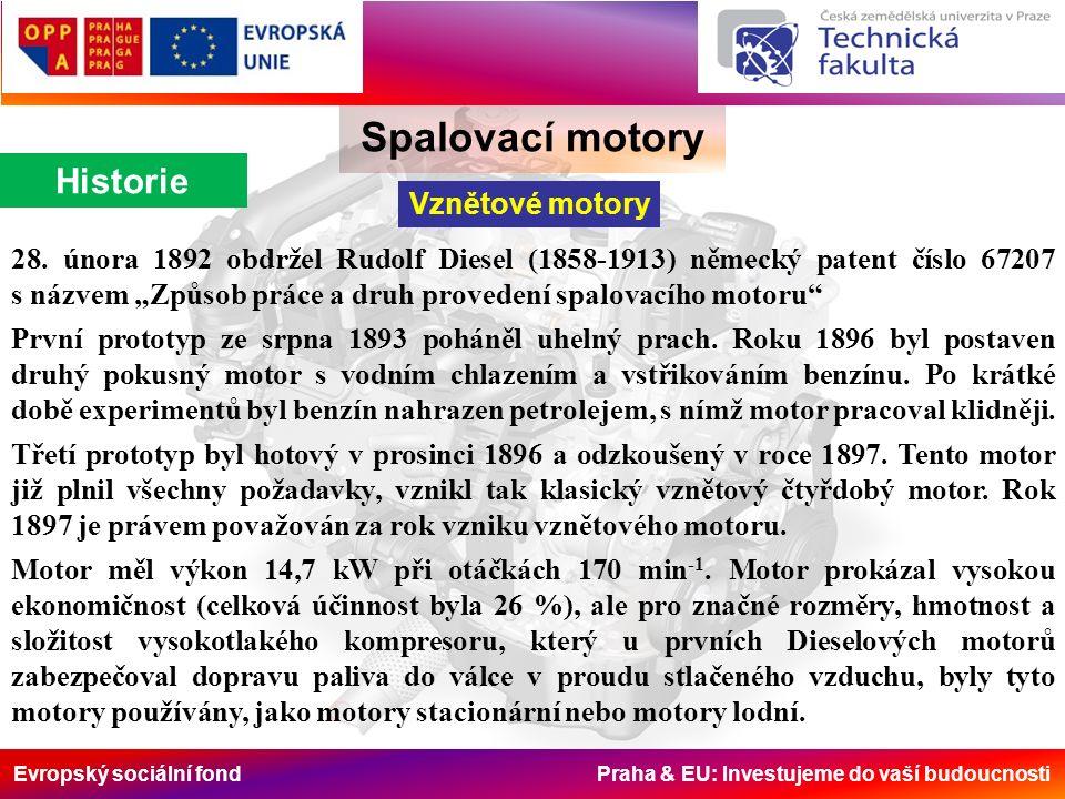 Evropský sociální fond Praha & EU: Investujeme do vaší budoucnosti Spalovací motory Historie Vznětové motory 28.
