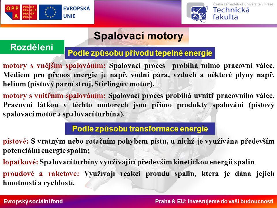 Evropský sociální fond Praha & EU: Investujeme do vaší budoucnosti Spalovací motory Rozdělení Podle způsobu přívodu tepelné energie motory s vnějším spalováním: Spalovací proces probíhá mimo pracovní válec.