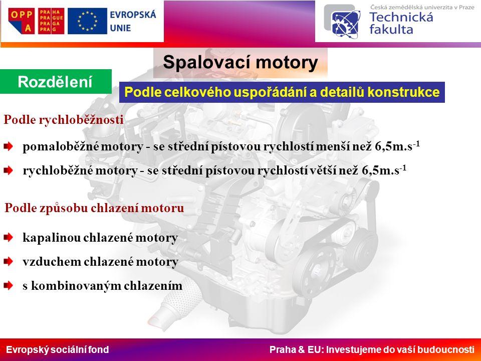 Evropský sociální fond Praha & EU: Investujeme do vaší budoucnosti Spalovací motory Rozdělení Podle celkového uspořádání a detailů konstrukce Podle rychloběžnosti pomaloběžné motory - se střední pístovou rychlostí menší než 6,5m.s -1 rychloběžné motory - se střední pístovou rychlostí větší než 6,5m.s -1 Podle způsobu chlazení motoru kapalinou chlazené motory vzduchem chlazené motory s kombinovaným chlazením