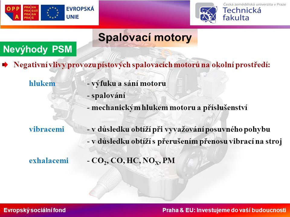 Evropský sociální fond Praha & EU: Investujeme do vaší budoucnosti Spalovací motory Nevýhody PSM Negativní vlivy provozu pístových spalovacích motorů na okolní prostředí: hlukem - výfuku a sání motoru - spalování - mechanickým hlukem motoru a příslušenství vibracemi - v důsledku obtíží při vyvažování posuvného pohybu - v důsledku obtíží s přerušením přenosu vibrací na stroj exhalacemi- CO 2, CO, HC, NO X, PM