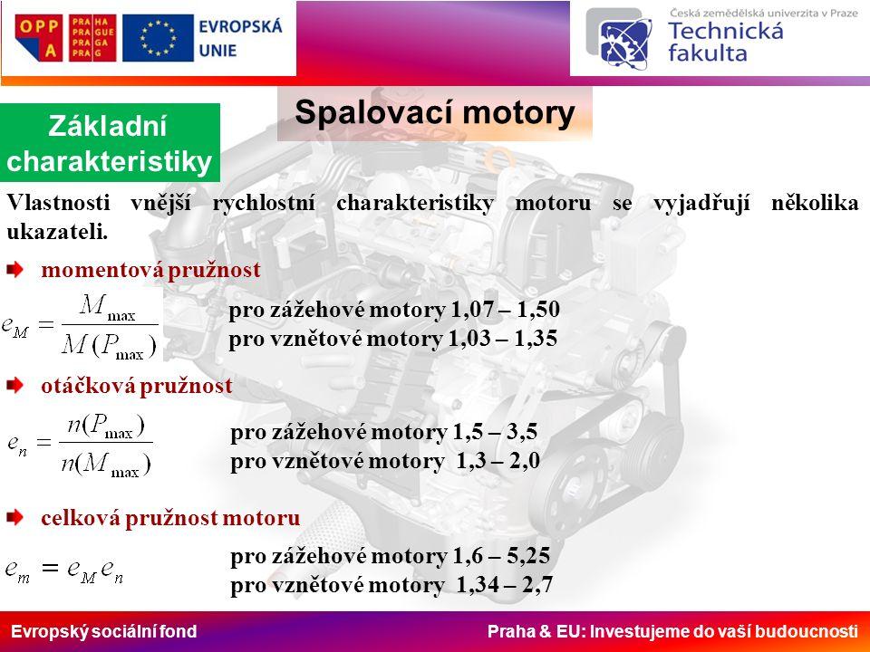 Evropský sociální fond Praha & EU: Investujeme do vaší budoucnosti Spalovací motory Základní charakteristiky Vlastnosti vnější rychlostní charakteristiky motoru se vyjadřují několika ukazateli.