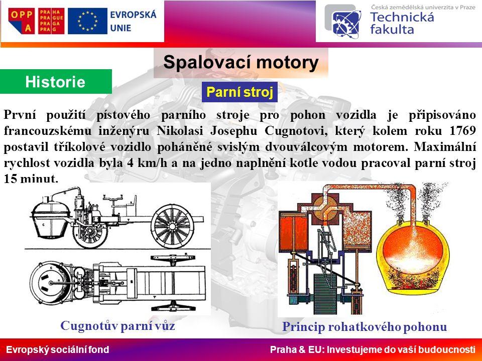 Evropský sociální fond Praha & EU: Investujeme do vaší budoucnosti Spalovací motory Rozdělení Podle použitého paliva Plynové motory: propan – butan, zemní plyn, kychtový plyn, generátorový plyn, kalový plyn a bioplyn Motory na kapalná paliva: a) ropná lehko odpařitelná paliva (benzín, petrolej) b) ropná těžko odpařitelná paliva (nafta, mazut) c) kapalná paliva neropného původu (metanol, etanol, metylester řepkového oleje) d) směsná paliva (lihobenzinová paliva, nafta + metylester řepkového oleje) Vícepalivové motory: většinou provoz na plynného paliva s možností záměny palivem kapalným (propan - butan + benzín, zemní plyn + benzín, zemní plyn + nafta, bioplyn + nafta).