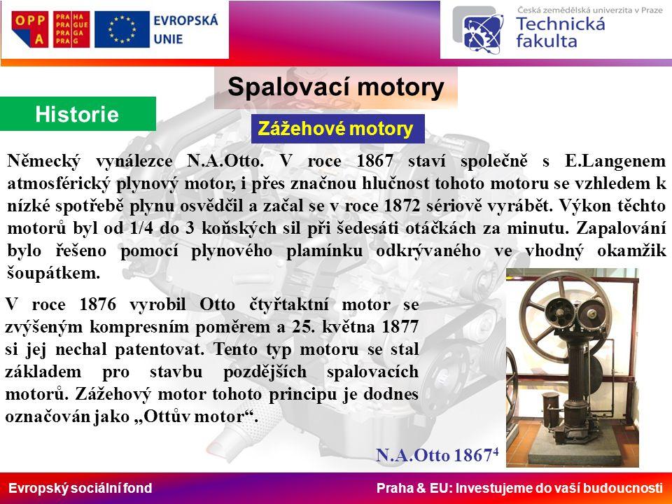 Evropský sociální fond Praha & EU: Investujeme do vaší budoucnosti Spalovací motory Rozdělení Podle způsobu zapálení směsi Motory zážehové: (podle převážně používaného paliva - benzínové), (v německy mluvících zemích - OTTOmotoren).
