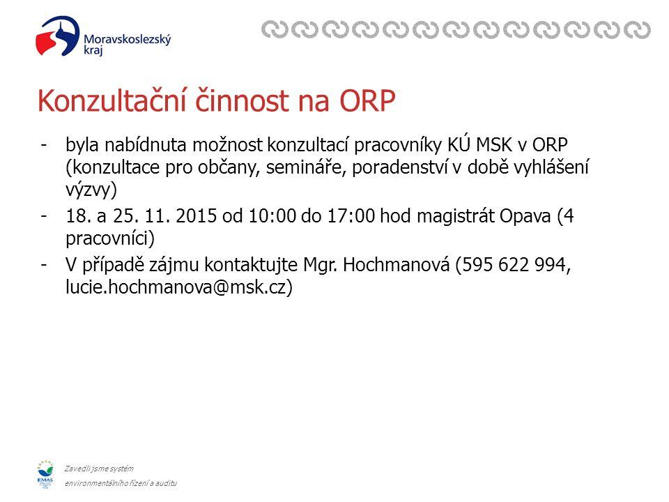 Zavedli jsme systém environmentálního řízení a auditu Konzultační činnost na ORP -byla nabídnuta možnost konzultací pracovníky KÚ MSK v ORP (konzultace pro občany, semináře, poradenství v době vyhlášení výzvy) -18.