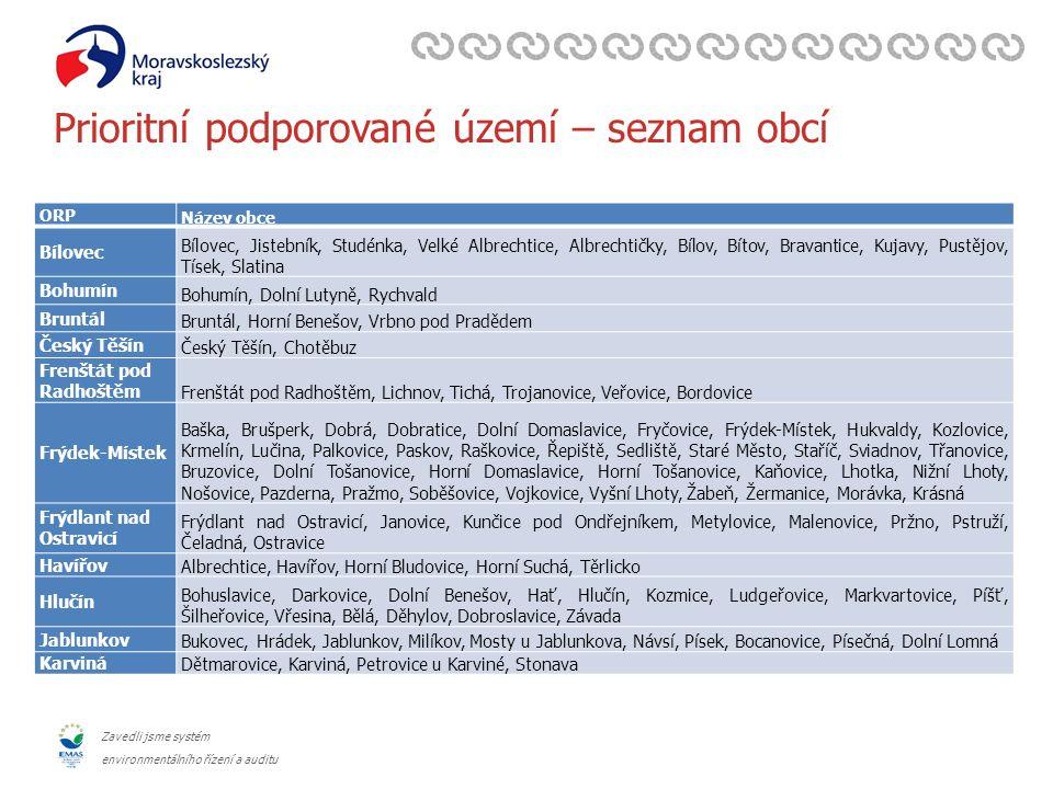Zavedli jsme systém environmentálního řízení a auditu ORP Název obce Bílovec Bílovec, Jistebník, Studénka, Velké Albrechtice, Albrechtičky, Bílov, Bít