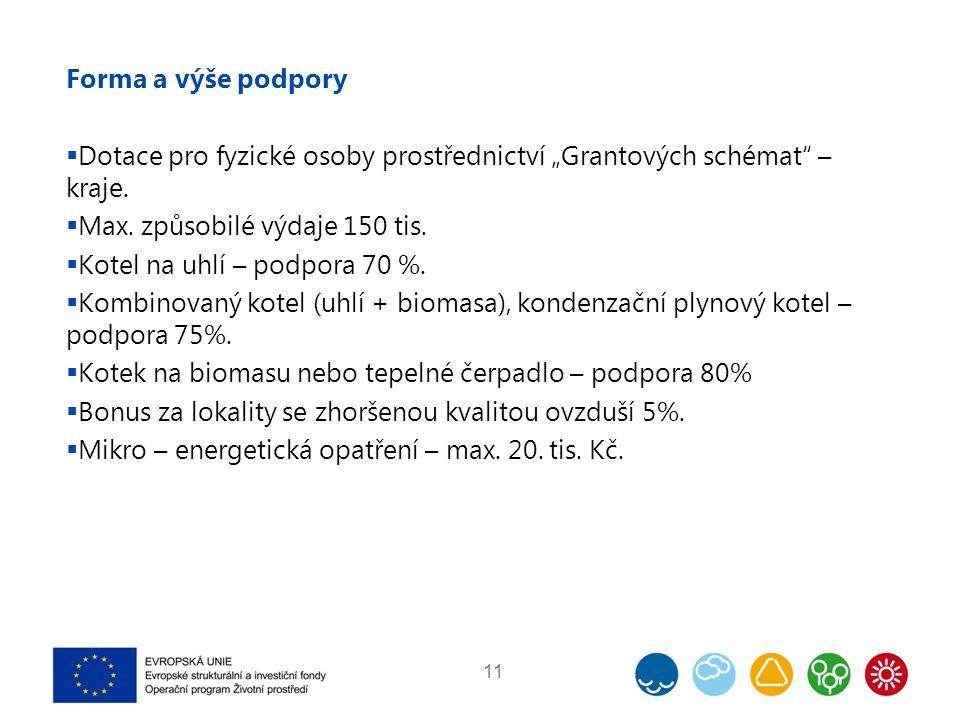 """Forma a výše podpory  Dotace pro fyzické osoby prostřednictví """"Grantových schémat – kraje."""