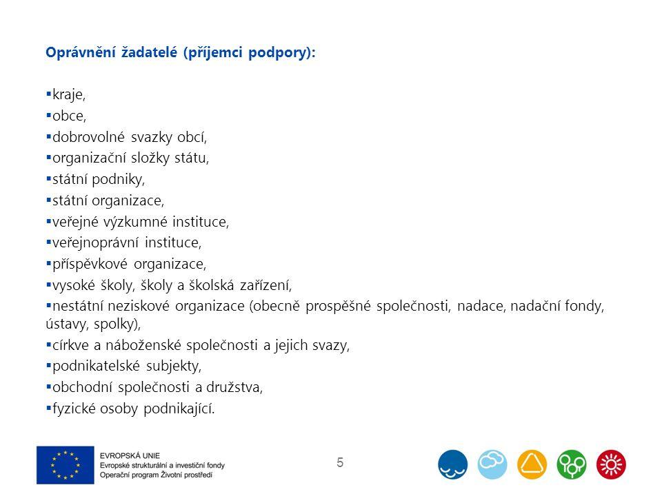 Základní kritéria přijatelnosti  Nejsou podporovány typy aktivit definované v PO 5, realizované ve veřejných budovách.