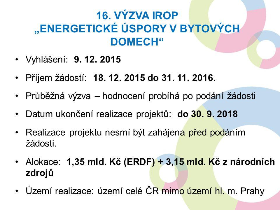 Vyhlášení: 9. 12. 2015 Příjem žádostí: 18. 12. 2015 do 31. 11. 2016. Průběžná výzva – hodnocení probíhá po podání žádosti Datum ukončení realizace pro