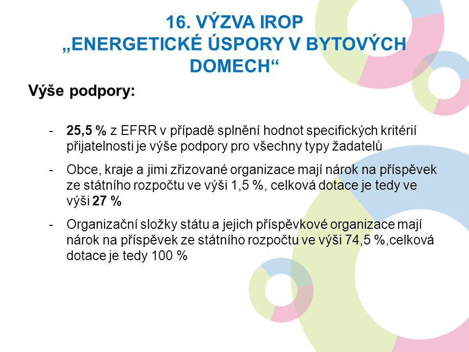 """16. VÝZVA IROP """"ENERGETICKÉ ÚSPORY V BYTOVÝCH DOMECH"""" Výše podpory: -25,5 % z EFRR v případě splnění hodnot specifických kritérií přijatelnosti je výš"""