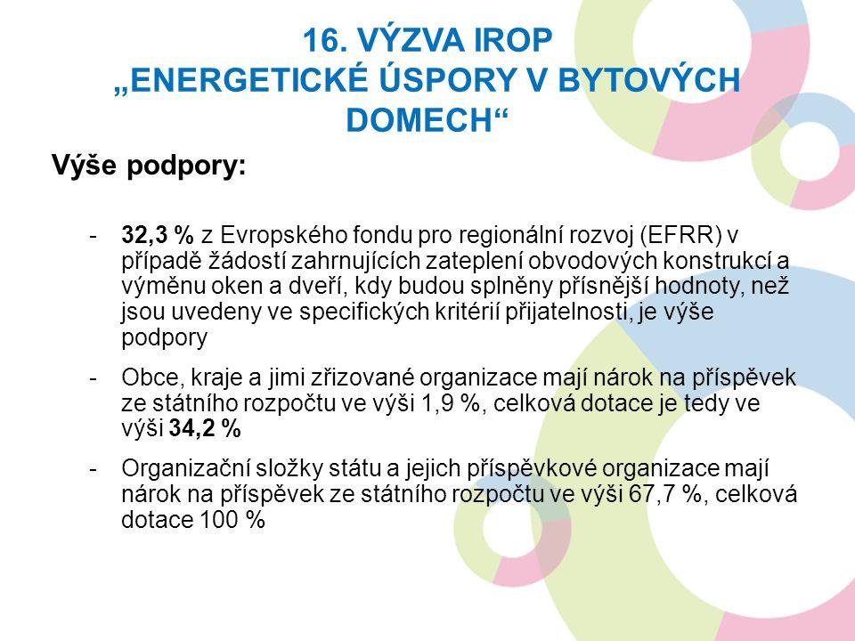 """16. VÝZVA IROP """"ENERGETICKÉ ÚSPORY V BYTOVÝCH DOMECH"""" Výše podpory: -32,3 % z Evropského fondu pro regionální rozvoj (EFRR) v případě žádostí zahrnují"""