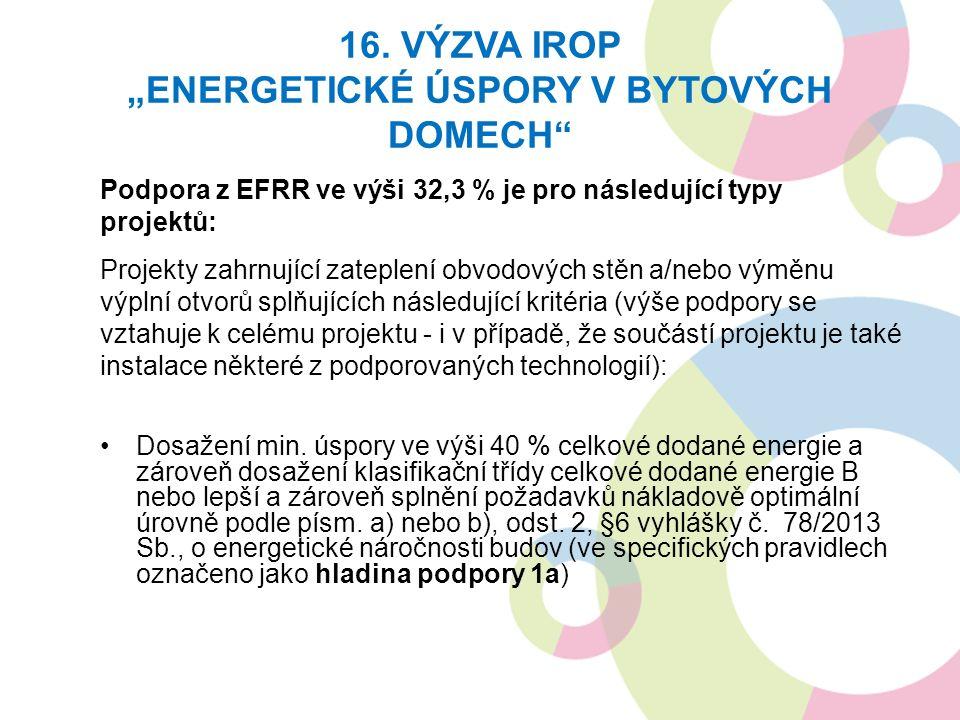 """16. VÝZVA IROP """"ENERGETICKÉ ÚSPORY V BYTOVÝCH DOMECH"""" Podpora z EFRR ve výši 32,3 % je pro následující typy projektů: Projekty zahrnující zateplení ob"""