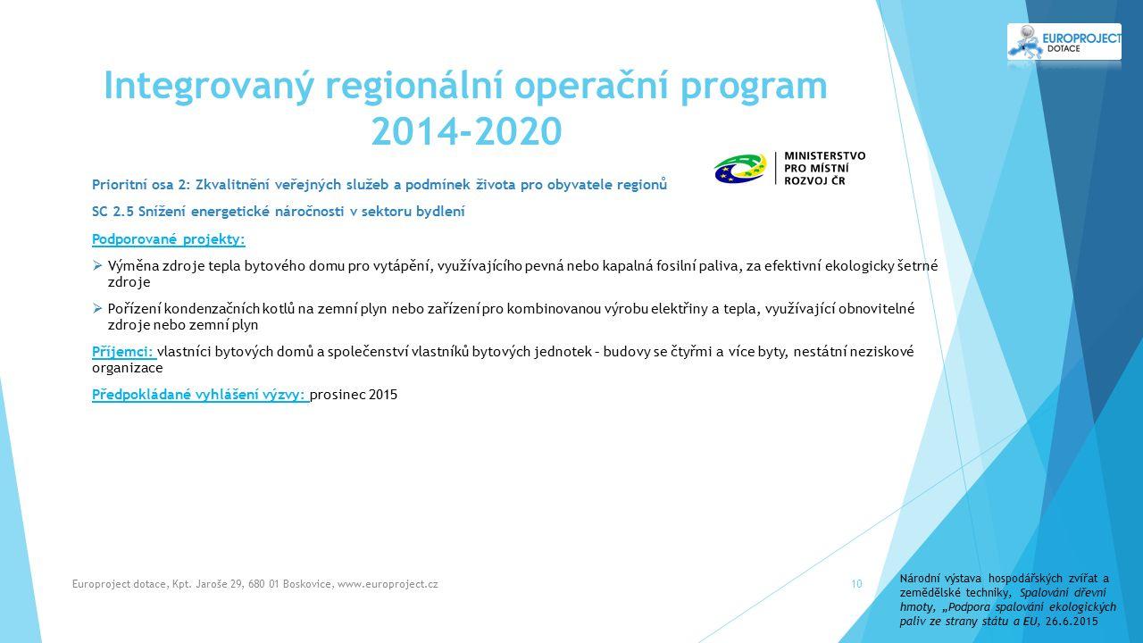 Integrovaný regionální operační program 2014-2020 Europroject dotace, Kpt.