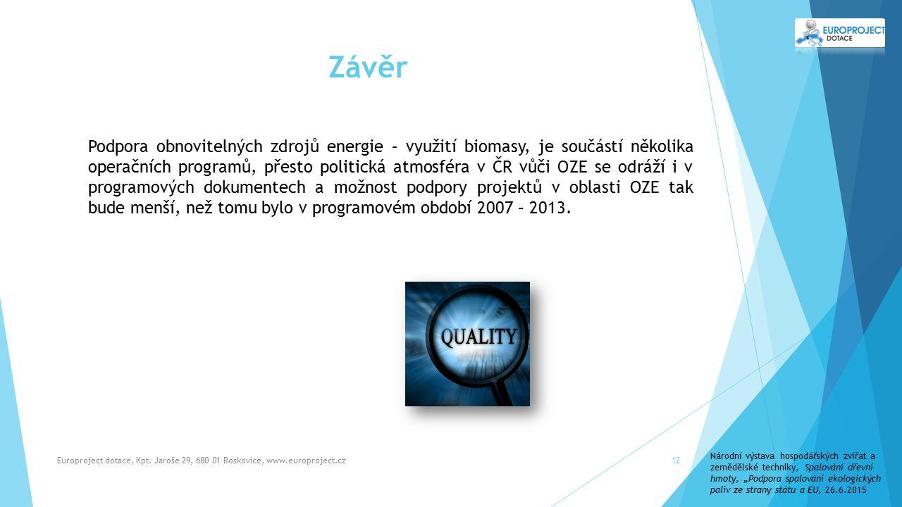 Závěr Europroject dotace, Kpt.