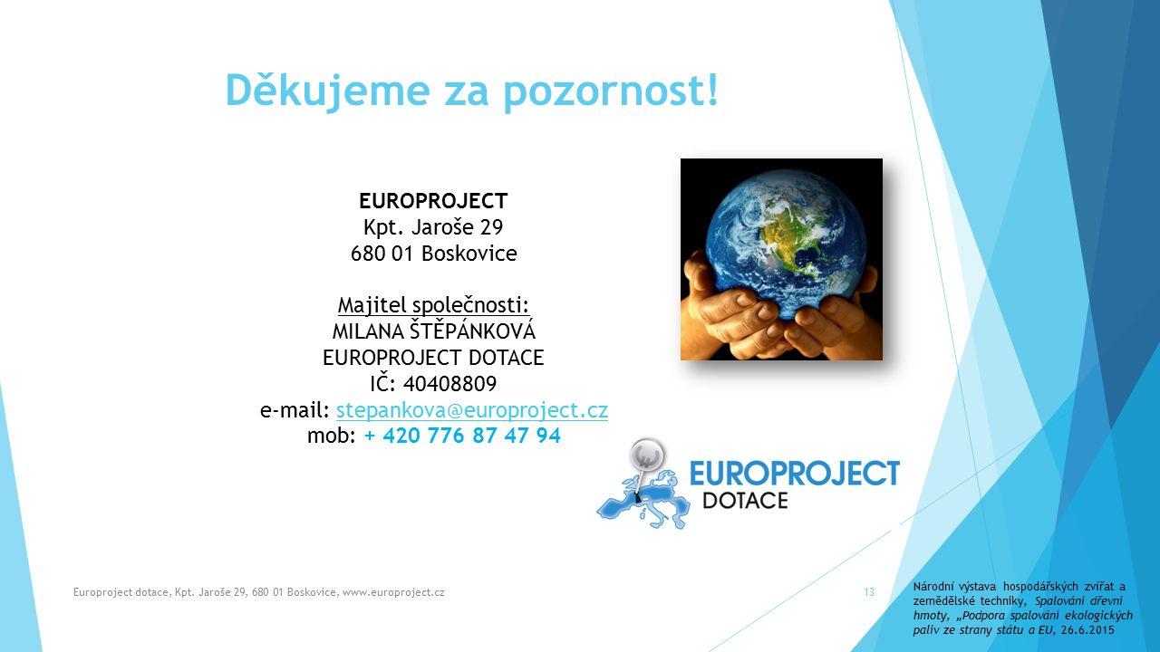 Děkujeme za pozornost.Europroject dotace, Kpt.