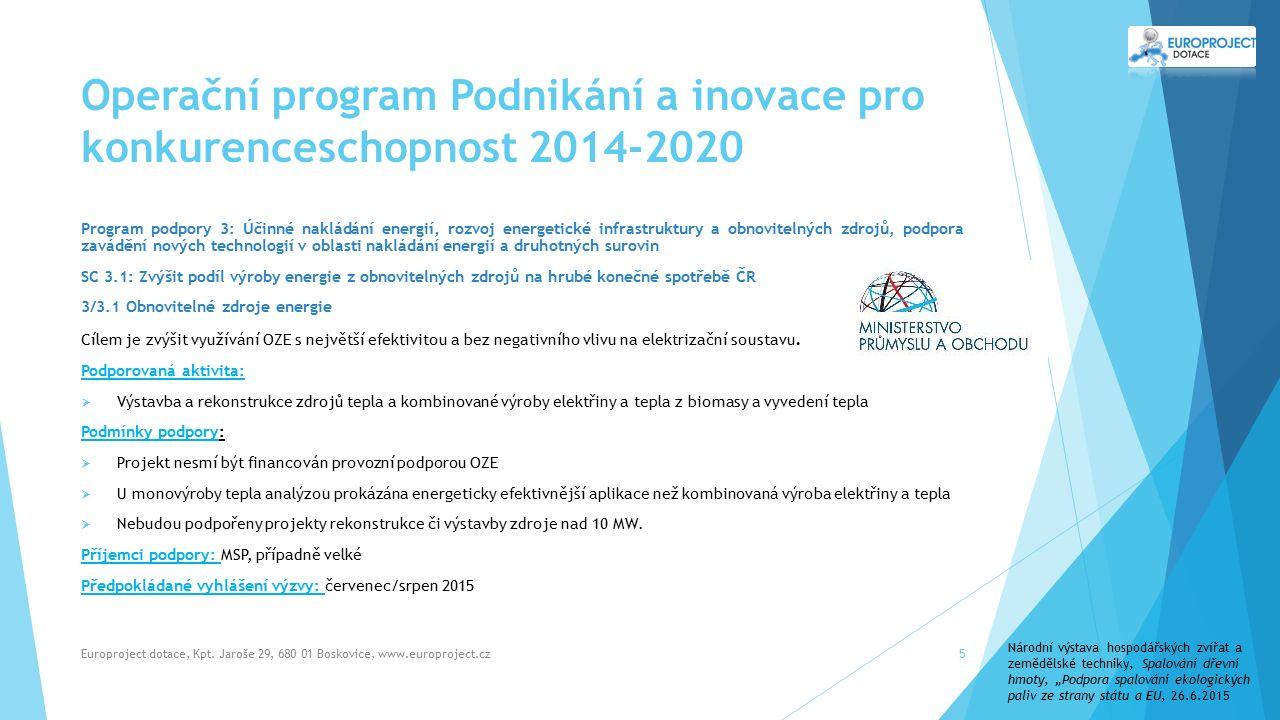 Operační program Podnikání a inovace pro konkurenceschopnost 2014-2020 Program podpory 3: Účinné nakládání energií, rozvoj energetické infrastruktury a obnovitelných zdrojů, podpora zavádění nových technologií v oblasti nakládání energií a druhotných surovin SC 3.1: Zvýšit podíl výroby energie z obnovitelných zdrojů na hrubé konečné spotřebě ČR 3/3.1 Obnovitelné zdroje energie Cílem je zvýšit využívání OZE s největší efektivitou a bez negativního vlivu na elektrizační soustavu.
