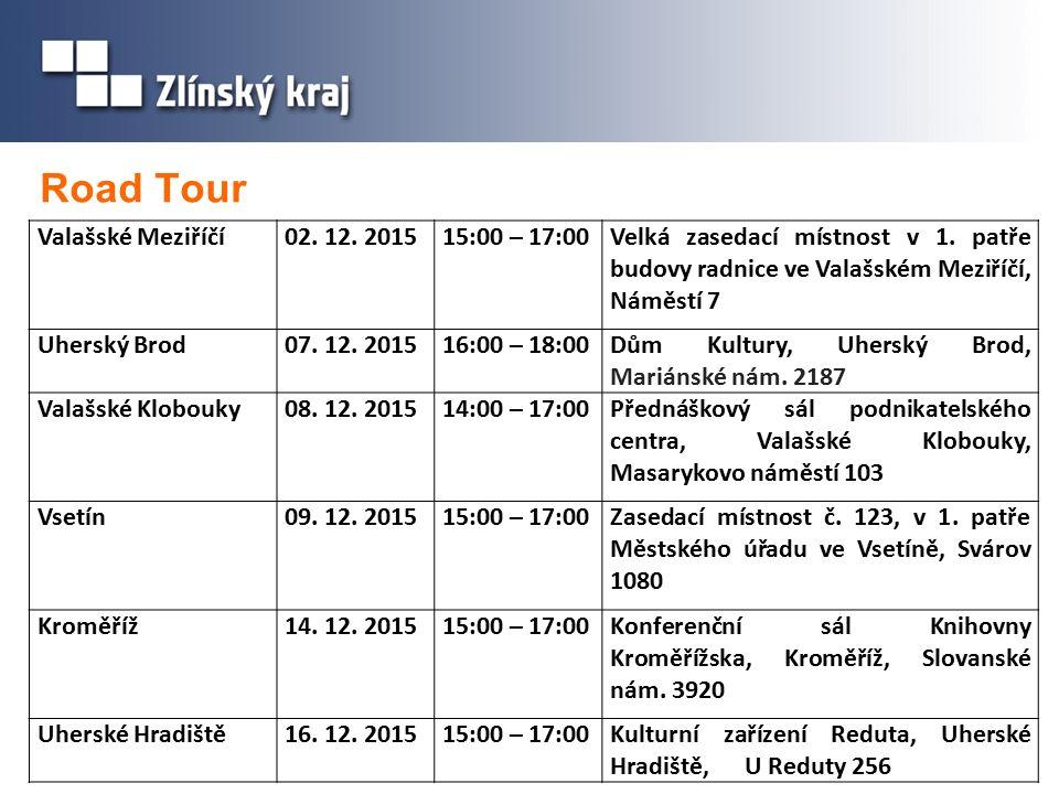 Road Tour Valašské Meziříčí02. 12. 201515:00 – 17:00Velká zasedací místnost v 1.