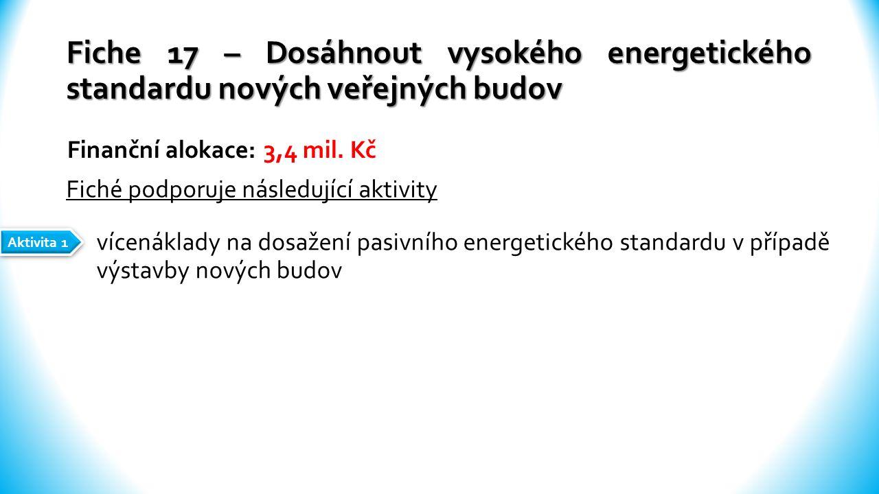 Fiche 17 – Dosáhnout vysokého energetického standardu nových veřejných budov vícenáklady na dosažení pasivního energetického standardu v případě výstavby nových budov Finanční alokace: 3,4 mil.