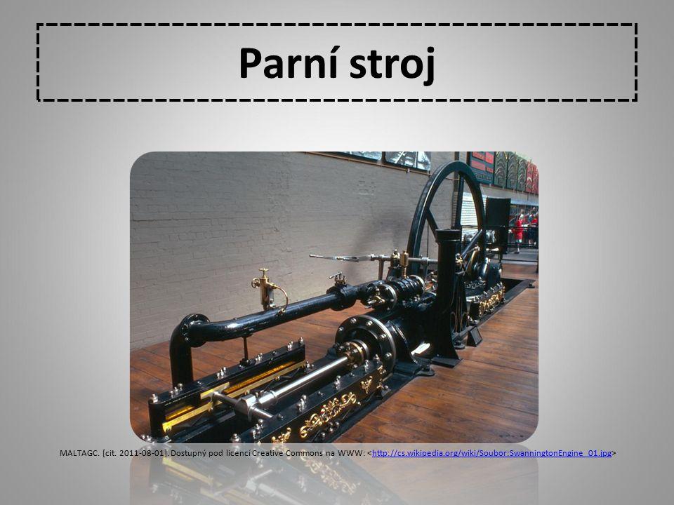 Parní stroj MALTAGC. [cit. 2011-08-01]. Dostupný pod licencí Creative Commons na WWW: http://cs.wikipedia.org/wiki/Soubor:SwanningtonEngine_01.jpg