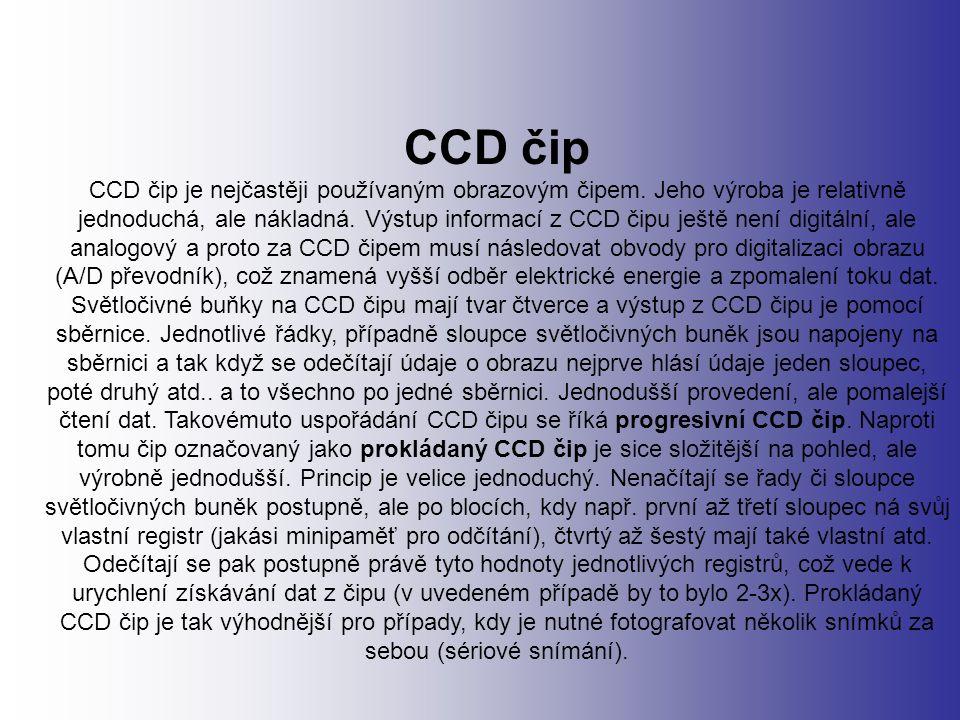 CCD čip CCD čip je nejčastěji používaným obrazovým čipem.