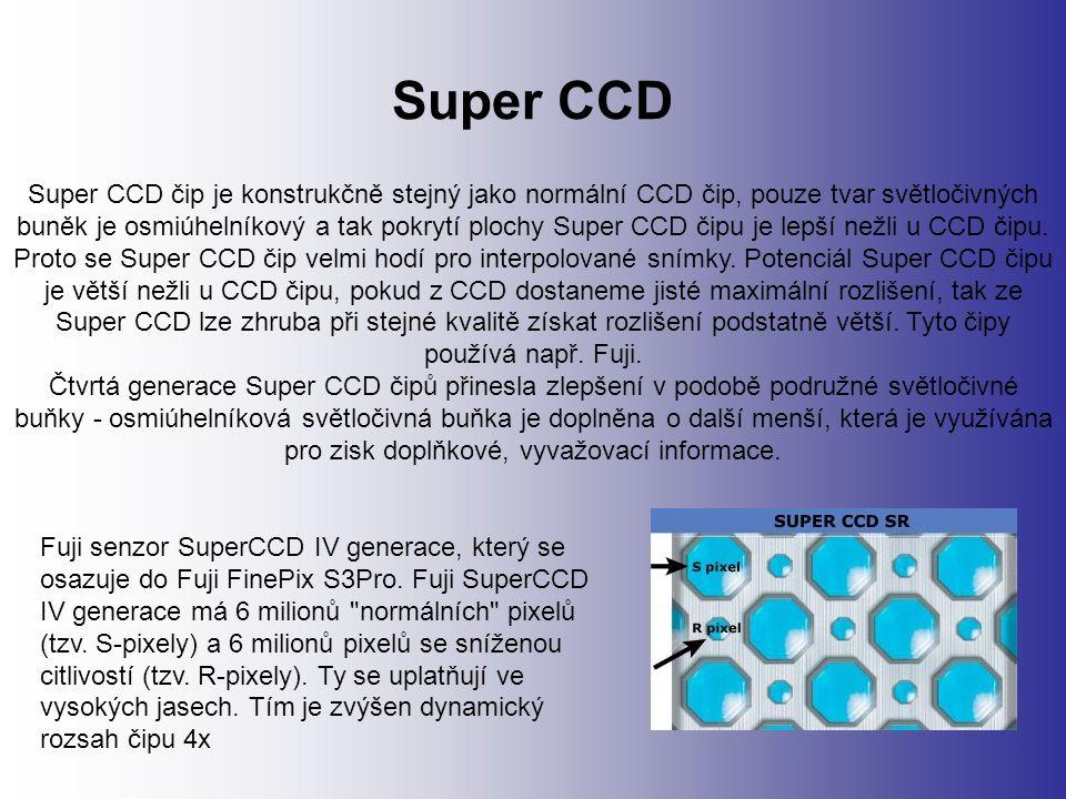Super CCD Super CCD čip je konstrukčně stejný jako normální CCD čip, pouze tvar světločivných buněk je osmiúhelníkový a tak pokrytí plochy Super CCD čipu je lepší nežli u CCD čipu.