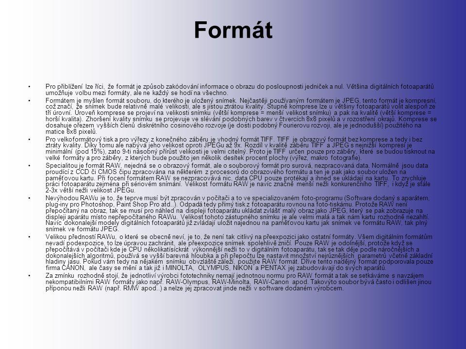 Formát Pro přiblížení lze říci, že formát je způsob zakódování informace o obrazu do posloupnosti jedniček a nul.