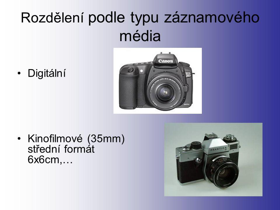Rozdělení podle typu záznamového média Digitální Kinofilmové (35mm) střední formát 6x6cm,…