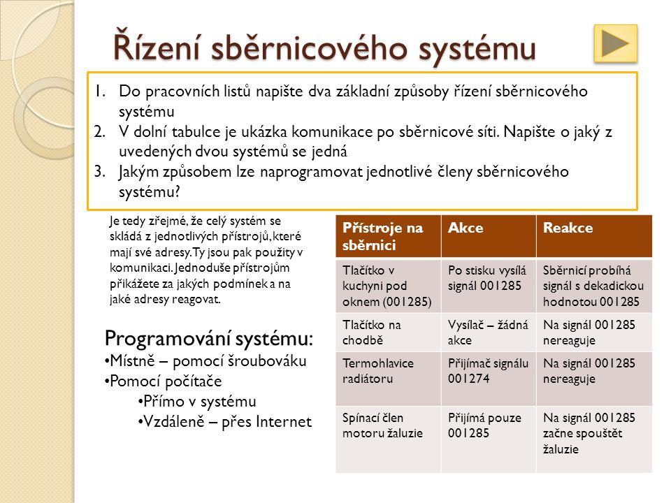 Řízení sběrnicového systému Centralizovaný systém Ústředna, která řídí celý systém Decentralizovaný systém – EIB/KNX Inteligence systému je ukryta v jednotlivých přístrojích Je tedy zřejmé, že celý systém se skládá z jednotlivých přístrojů, které mají své adresy.