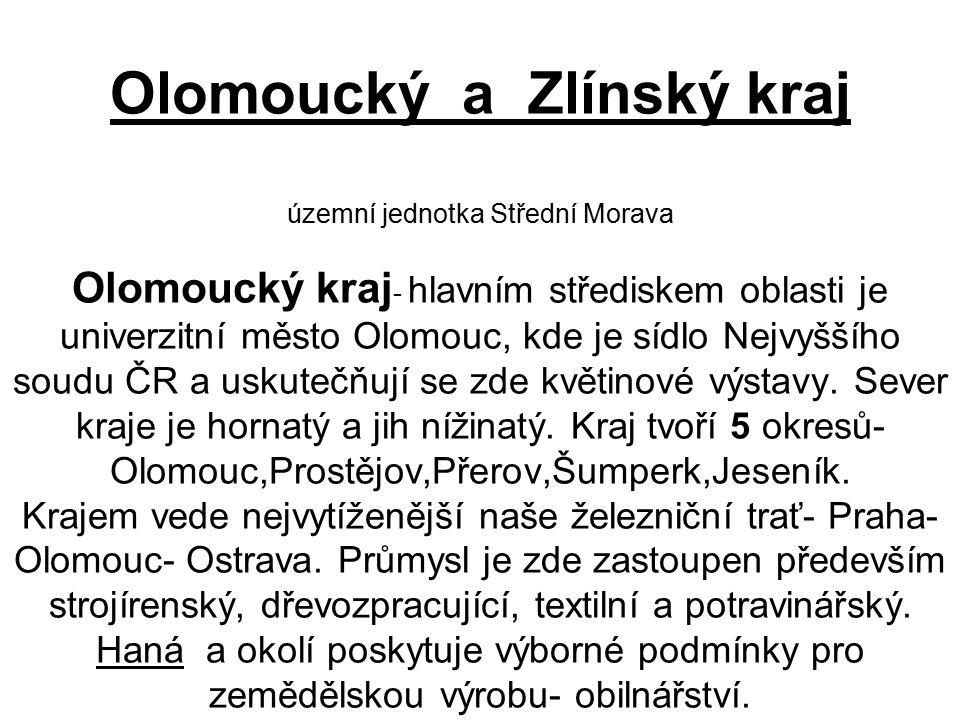 Olomoucký a Zlínský kraj územní jednotka Střední Morava Olomoucký kraj - hlavním střediskem oblasti je univerzitní město Olomouc, kde je sídlo Nejvyššího soudu ČR a uskutečňují se zde květinové výstavy.