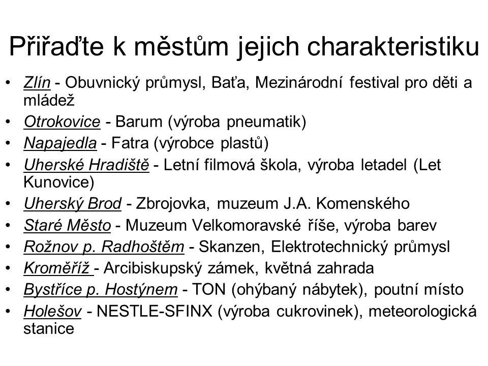 Přiřaďte k městům jejich charakteristiku Zlín - Obuvnický průmysl, Baťa, Mezinárodní festival pro děti a mládež Otrokovice - Barum (výroba pneumatik) Napajedla - Fatra (výrobce plastů) Uherské Hradiště - Letní filmová škola, výroba letadel (Let Kunovice) Uherský Brod - Zbrojovka, muzeum J.A.