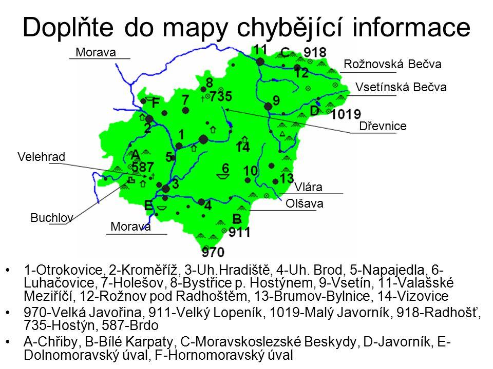 Doplňte do mapy chybějící informace 1-Otrokovice, 2-Kroměříž, 3-Uh.Hradiště, 4-Uh.