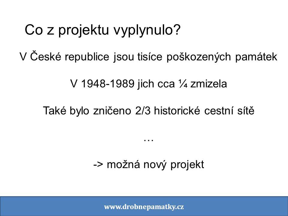 Co z projektu vyplynulo? V České republice jsou tisíce poškozených památek V 1948-1989 jich cca ¼ zmizela Také bylo zničeno 2/3 historické cestní sítě