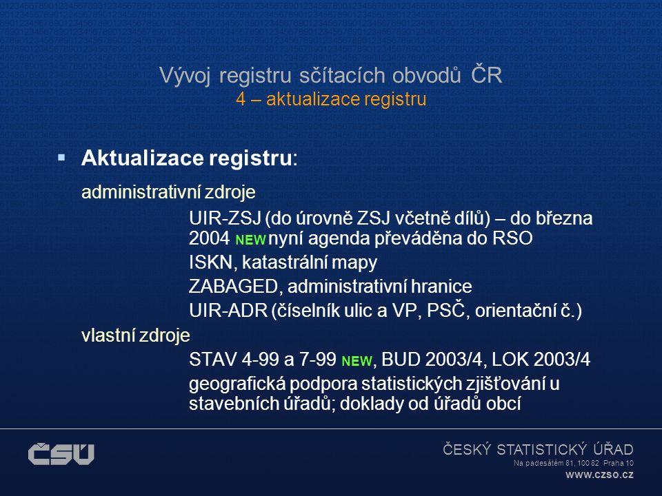 ČESKÝ STATISTICKÝ ÚŘAD Na padesátém 81, 100 82 Praha 10 www.czso.cz Vývoj registru sčítacích obvodů ČR 3 – technologie, charakteristiky  Počet jednot