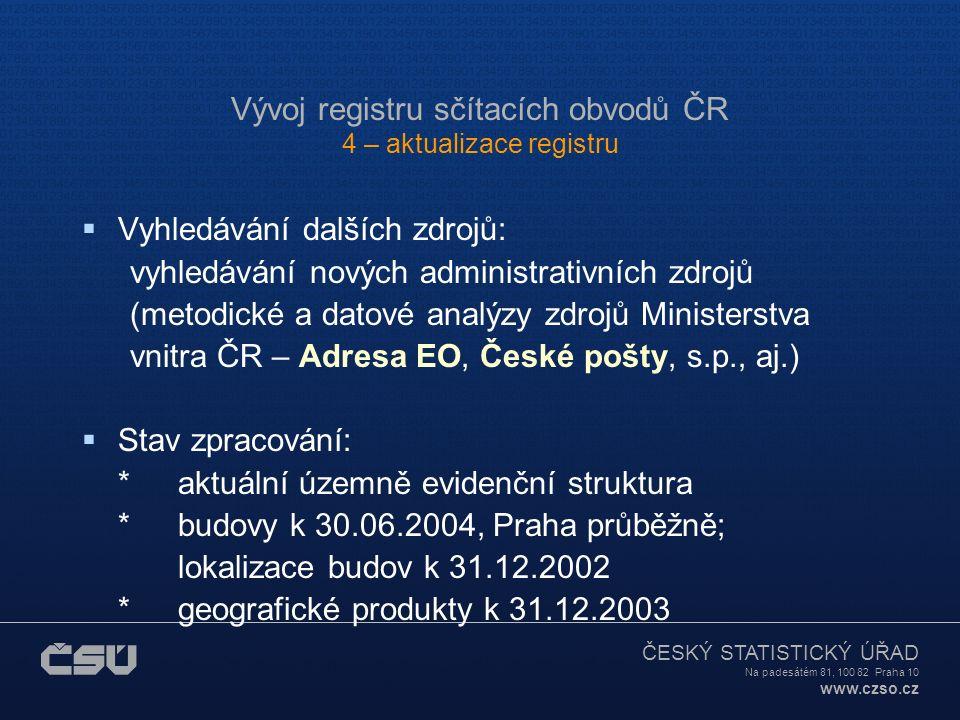 ČESKÝ STATISTICKÝ ÚŘAD Na padesátém 81, 100 82 Praha 10 www.czso.cz Vývoj registru sčítacích obvodů ČR 4 – aktualizace registru  Aktualizace registru