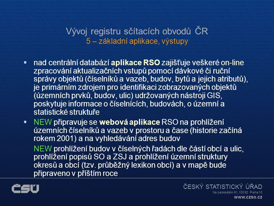 ČESKÝ STATISTICKÝ ÚŘAD Na padesátém 81, 100 82 Praha 10 www.czso.cz Vývoj registru sčítacích obvodů ČR 4 – aktualizace registru  Vyhledávání dalších