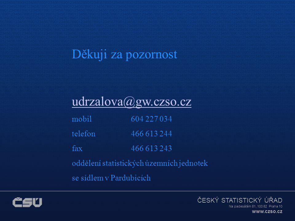 ČESKÝ STATISTICKÝ ÚŘAD Na padesátém 81, 100 82 Praha 10 www.czso.cz Další vývoj můžete sledovat na webových stránkách ČSÚ: www.czso.czwww.czso.cz registr sčítacích obvodů eKatalog geografických produktů Kontakt na pracoviště, které poskytuje výstupy: Ing.
