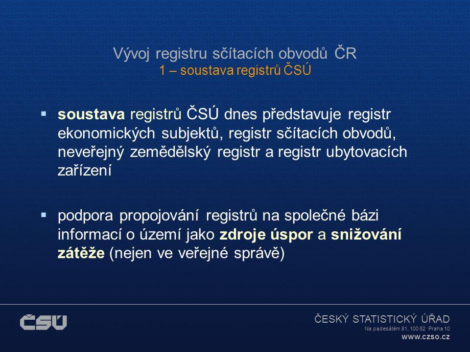 ČESKÝ STATISTICKÝ ÚŘAD Na padesátém 81, 100 82 Praha 10 www.czso.cz Obsah  1. Soustava registrů ČSÚ  2. Legislativa, koncepce  3. Technologie, char